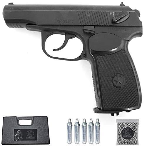 Baikal Makarov MP-654L (Black) | Pistola de balines (bb's de Acero) y CO2 Calibre 4,5mm + maletin y balines