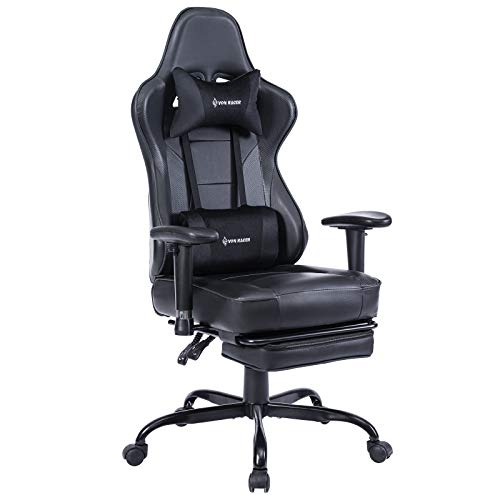 Li VON RACER Massage Gaming Chair - High Back Racing PC Computer Desk Office Chair Swivel Ergonomic Executive Leather Chair with Footrest and Adjustable Armrests (Black)