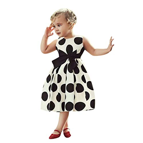 Honestyi BabyBekleidung Mädchen Kleider Kleinkind Punkten Rockabilly Sommerkleid Baby Kinder mit Gürtel Reißverschluss Ohne Arm Knielang Einteiler Kleid (Weiß, 120)