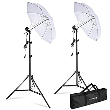 Yesker Photography Lighting Umbrella Kit 5500K Day Light Continuous Lighting Umbrella Equipment for Studio Photo Video Portrait Shooting with Tripod Stand