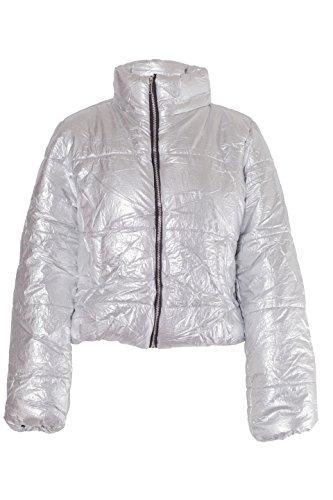 NOROZE Damen Crop Jacke Steppjacke Kurzes Puffer-Mantel (Silber, 36)