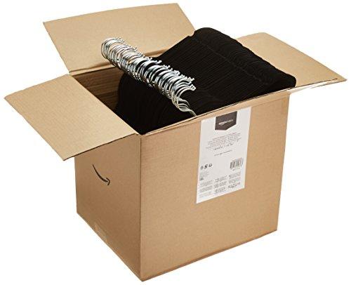 AmazonBasics - Perchas de terciopelo para trajes - Paquete de 100, Negro