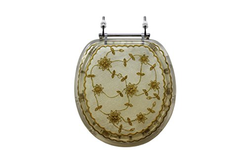 Trimmer Mother of Pearl Polyresin Toilet Seats With Pearl White Laced Flowers