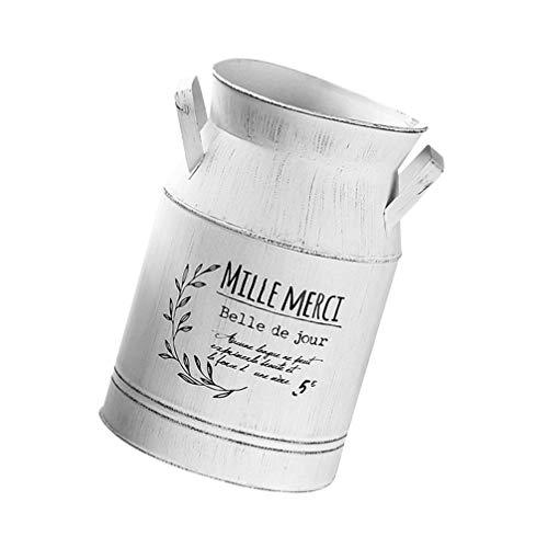Hemoton Shabby Chic Latte può Vaso di Fiori Vaso Zincato Brocca di Metallo Francese Rustico Composizione di Fiori Secchio Fattoria Arredamento Paese Vaso Decorativo Fioriera 20X13.5cm