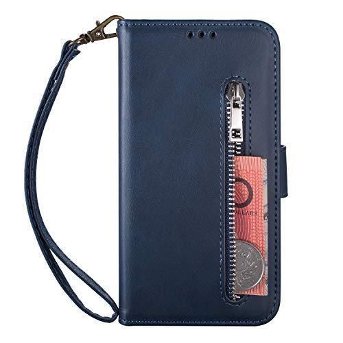Miagon Smart View Flip Coque pour Samsung Galaxy Note 10,PU Cuir Standing Housse /Étui Rabat mit Auto Wake//Sleep TPU Interne Antichoc Cover,Rouge