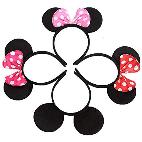 12 pezzi Nero Rosso Rosa Fasce per capelli compleanno Feste di Halloween Mamma Ragazzi Ragazze Accessori per capelli Belle orecchie da topo copricapo Decorazioni (4 Colori Misti)