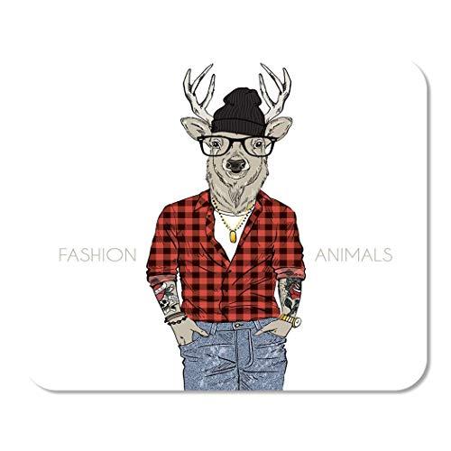 Mousepad Computer Notepad Büro Brille Hipster Deer in karierten pelzigen Tieren...