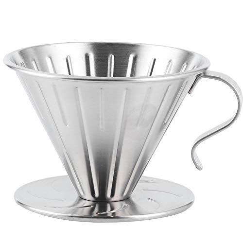 Filtro de café, taza de filtro acero inoxidable 304, taza acero inoxidable para verter sobre cafetera, cono goteo, soporte para filtro, accesorios para máquina goteo metal sin papel reuti(L)