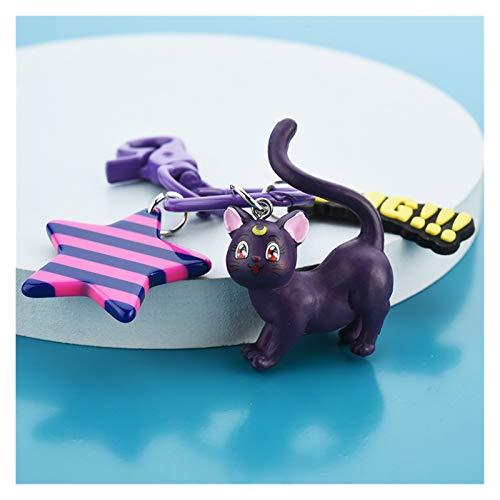 Xx101 Llavera Creativo Lindo Gato Dibujos Animados Llavero Pareja Amantes Llavero de Coches Mujer Bolso Accesorios Llavero Animal Metal Colgante (Color : Black Cat)