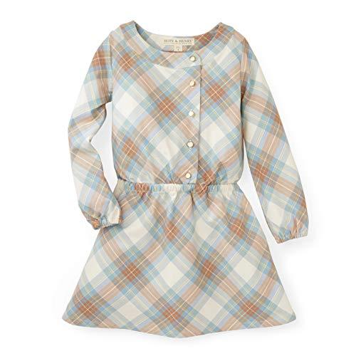 Hope & Henry Girls' Tan and Blue Plaid Drop Waist Dress