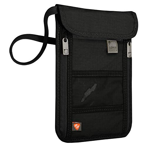 Lewis N. Clark Women's RFID Blocking Stash Neck Wallet, Travel Pouch Passport Holder for Women & Men, Black
