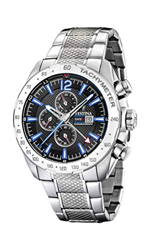 Festina Herren Chronograph Quarz Uhr mit Edelstahl Armband F20439/5