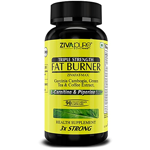 Zivapure Fat Burner & Weight Loss Supplement for Men and Women with Garcinia Cambogia, L Carnitine, Green Tea & Coffee Extract, and 6 other Powerful ingredients - 90 Veg Capsules