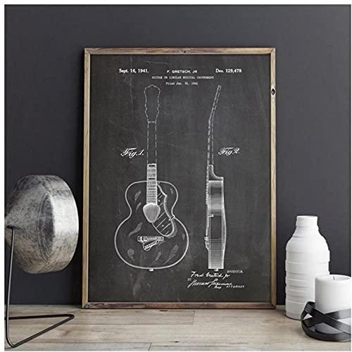 BINGJIACAI Póster de patente de guitarra, lienzo en blanco y negro, pintura de arte de pared, impresión de imagen, sala de música, decoración del hogar, regalos de músico-40x50cm sin marco