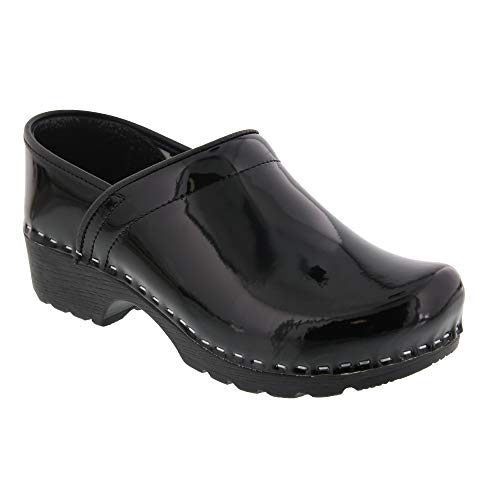 BJORK Swedish Comfort Women's Professional Karin Leather Clogs - Black Patent (EU-42)