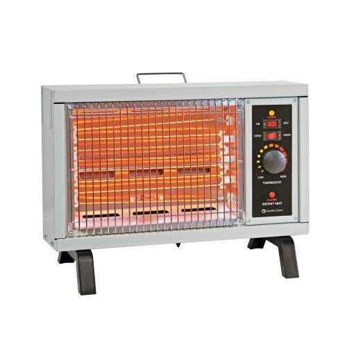 Comfort Zone CZ550 1500w Electric Radiant Space Heater with Adjustable Thermostat, Ivory Electric Heater Space