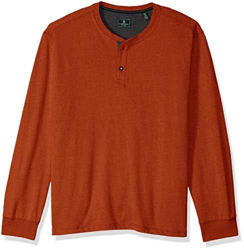 G.H. Bass & Co. Men's Carbon Long Sleeve Jersey Henley Solid Shirt, Legacy Russet Brown Heather F2018, Medium