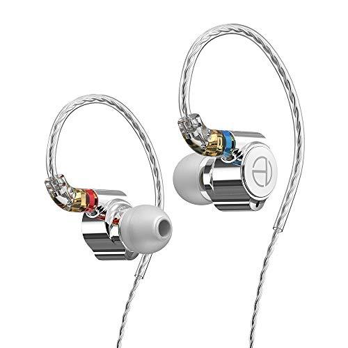 TRN TA1 1BA+1DDハイブリッドユニットインイヤーヘッドフォン、バランスアーマチュアおよびダイナミックドライブユニットヘッドフォン、HIFIベーススポーツDJヘッドフォン、銀メッキの有線イヤフォンヘッドフォン、金属製イヤホン (TA1)