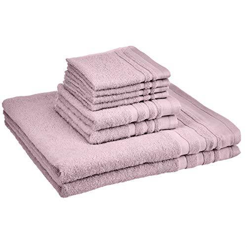 Amazon Basics Cosmetic Friendly Towel Set - 8-Piece Set, Lavender Bloom