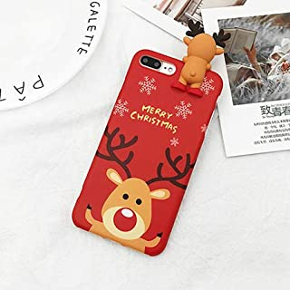 Topwin Christmas Case for iPhone 7 Plus/8 Plus, Merry Christmas Soft TPU 3D Cute Cartoon Snowman Santa/Elk Pattern Cute Flexible Gift Case for Apple iPhone 7 Plus/8 Plus(Red)