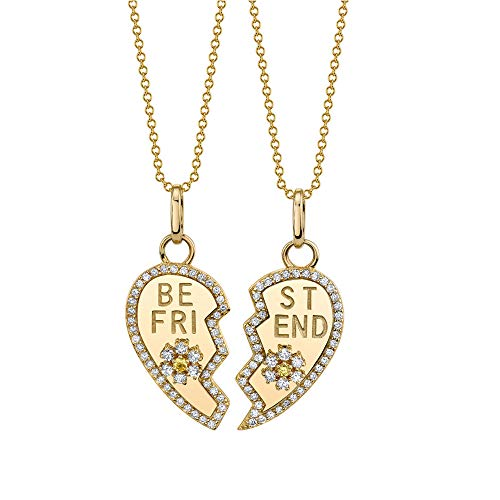 OUXUN Necklace for Best Buds Friends 2 Set Teen Girls BFF Chic Heart Split Flowers Matching Pendant Necklaces Friendship Birthday for BFF