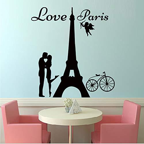 Engel Liebe Paris Wandtattoos Liebhaber Küssen Und Fahrrad Abnehmbare Wohnkultur Pvc Wandkunst Aufkleber Lounge Wohnkultur 59 * 62 Cm