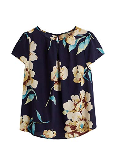 Milumia Women's Floral Print Short Sleeve Pleated Keyhole Back Blouse Top