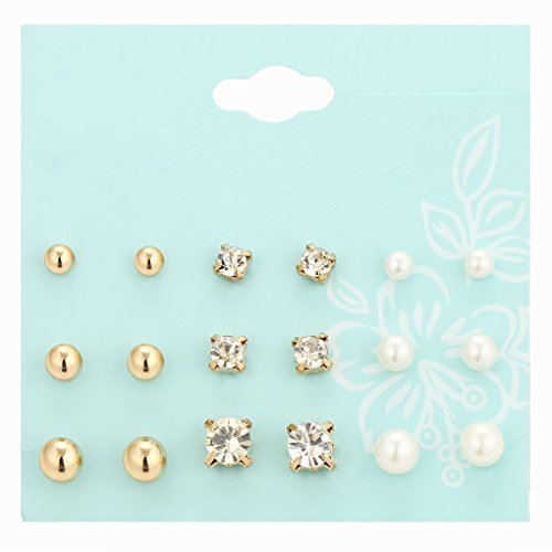 9 paar vrouwen meisje parel kristal set mix, gouden oorbellen set, zilveren kralen oorbellen set mix vorm glanzende sieraden cadeau