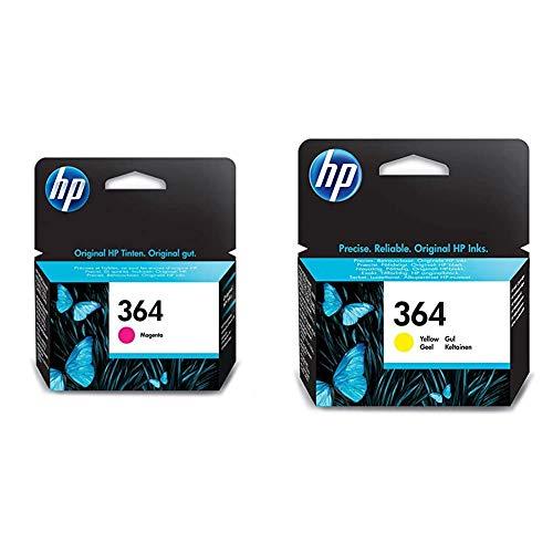 HP 364 CB319EE, Magenta, Cartucho de Tinta Original, de 300 páginas + Cartucho de tinta amarilla 364 364 Ink Cartridges, de 5 a 80% RH, -40 a 70º C