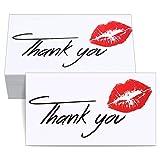 2000 Tarjetas de Thank You con Labios Rojos Tarjetas de Thank You de Cliente Tarjetas de Thank You de Insertar Paquete para Comercios y Minoristas en Línea, 2 x 3,5 Pulgadas