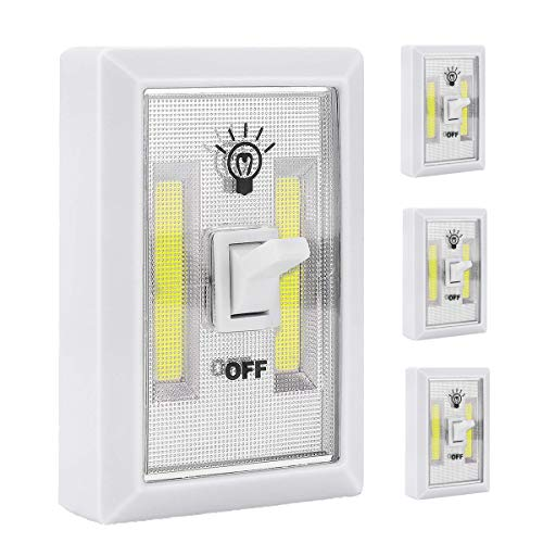 Sorxine LED Wireless Switch Lights Battery Operated Led Lights Battery Powered Light 4Pack,Tap Lights Stick On Light,Cob Cordless Led Light,Night Lights for Closet,Under Cabinet,Counter (4pack)