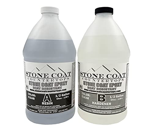 Stone Coat Countertops 1 Gallon Epoxy Kit – DIY Epoxy Resin Kit for Coating Kitchens, Bathrooms, Counters, Tables, Wood Slabs, and More! Heat Resistant and Clear Epoxy Resin!