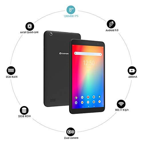 Tablet 8-Zoll Android 9.0 - HAOQIN Tablet PC H8 Pro Quad Core CPU 32GB ROM 1280 x 800 HD IPS Displays WiFi Bluetooth FM Google Zertifiziertes (Schwarz)
