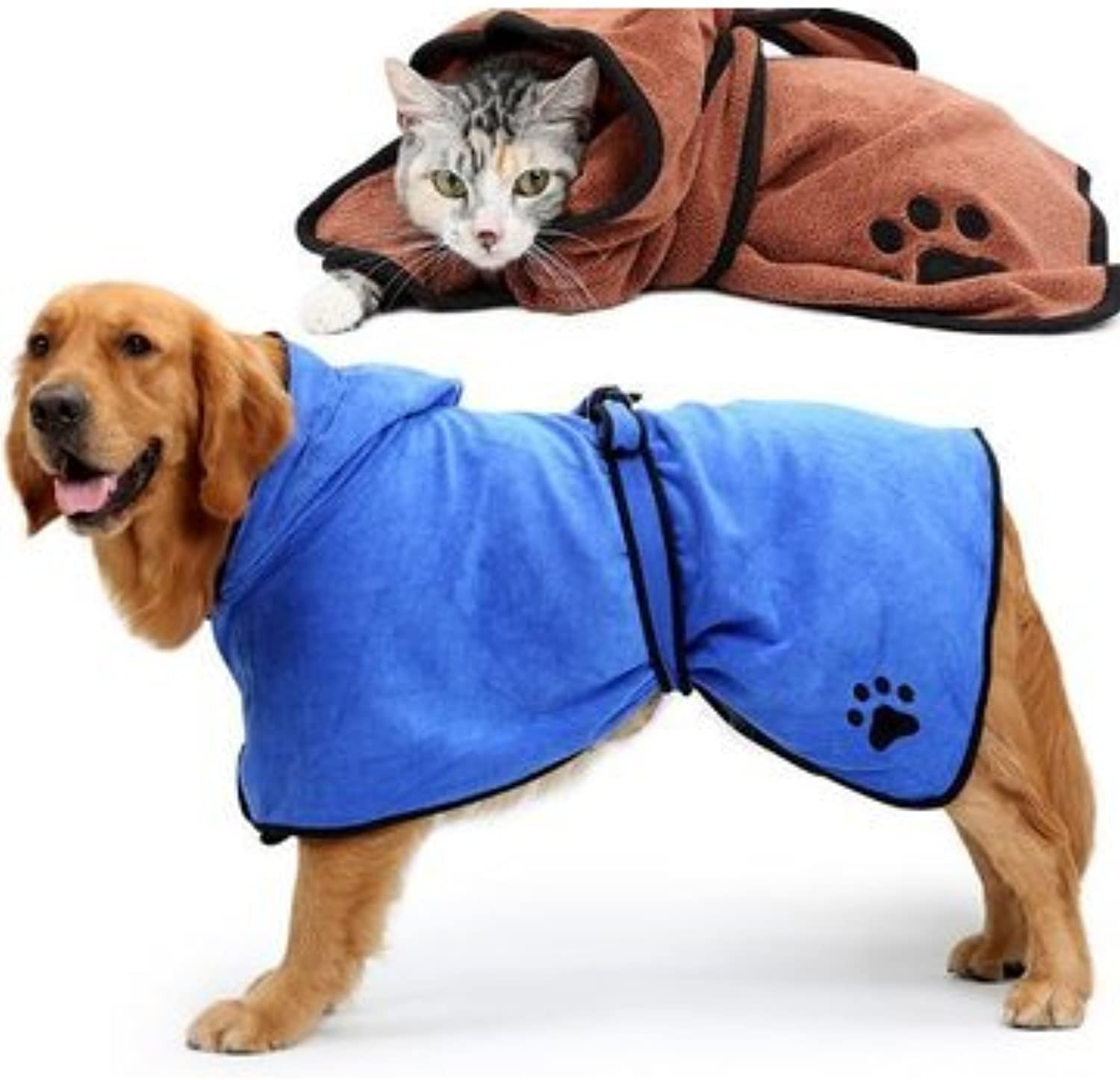 Dog Dog Grooming  Dog Bathrobe Warm Dog Clothes Absorbent Pet Drying Towel Embroidery Paw Cat Hood Pet Bath Towel  L  1 x Pet Bath Towel