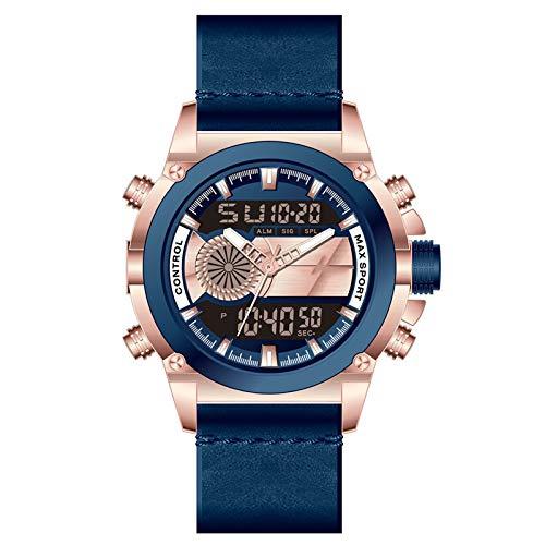 Reloj de Pulsera de los Hombres, Reloj de Hombre Deportivo Impermeable, Reloj de Retroceso LED Reloj de cinturón de Reloj, analógico Digital Casual Hombres de negoci D