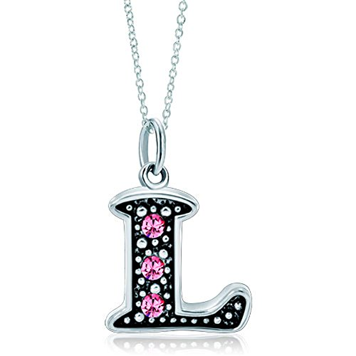 LovelyJewelry Pink Letter L Alphabet Initial Charms Bead Necklace Pendant
