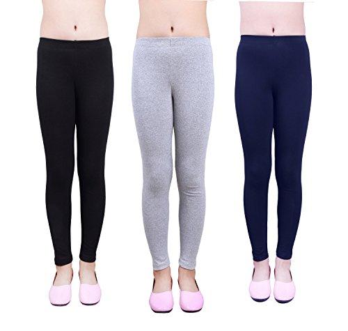 IRELIA Girls Leggings 3 Pack Cotton Solid Size 4-16...
