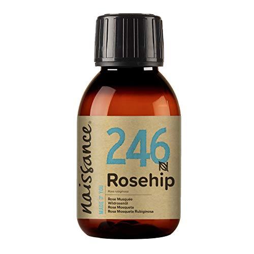Naissance Aceite Vegetal de Rosa Mosqueta Rubiginosa n. º 246 - 100ml - Puro, natural, vegano, sin hexano y no OGM - Hidrata y nutre todo tipo de pieles, el cabello y las uñas.