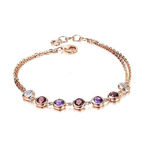 KnSam Bracelet Femme Fine Tourmaline Rouge Naturelle 2.02ct, Or Rose 18 Carats Élégance Cadeau Noël