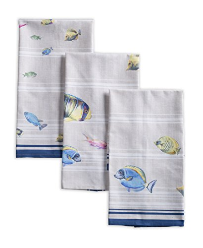 Maison d' Hermine Poisson 100% Cotton Set of 3 Kitchen Towels Soft Absorbent (20 Inch by 27.50 Inch)