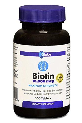 BIOTIN 10,000 mcg Maximum Strength Tablets, 100-Count
