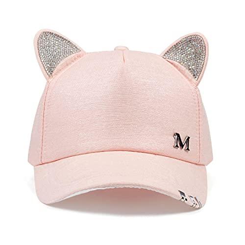 VSDFS Miau Mujer Verano Otoño Negro Blanco Rosa Sombrero Orejas De Gato Gato Gorra De Béisbol con Anillos Y Encaje Lindo Sombrero De Niña Rosa