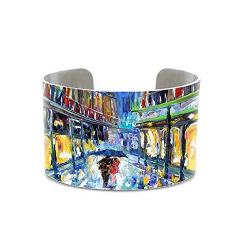 CLEARNICE Ángel Abrazos Pintura Ángel Arte Original Óleo Abstracto Pulsera Nueva Orleans Luna Impresión Brazalete Hecho A Mano para Mujeres Hombres