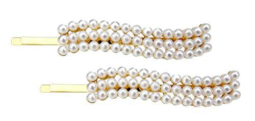 Ella Jonte 2 X Haarklammer Wave gold weiß Perlen Haarklemmen Party Hochzeit