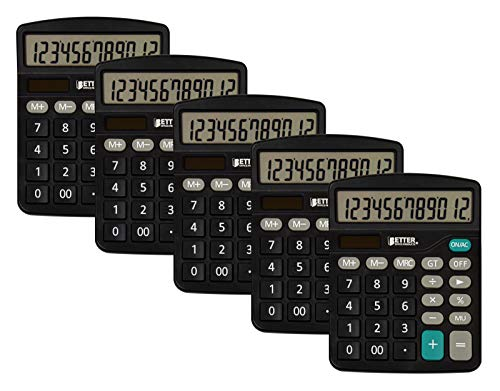 Large Desktop Calculators, 5 Pack, 12-Digit LCD Display, Angled Display Panel, by Better Office Products, Standard Function, Black, Dual Power with Included AA Battery Power, 5 Pack