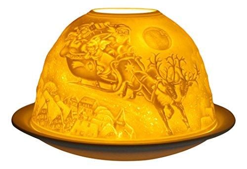 Himmlische Düfte Geschenkartikel GmbH Weihnachtstraum Windlicht, Porzellan, Weiss, 12x12x8 cm