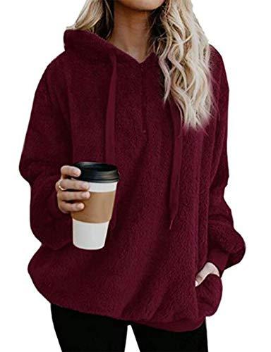 Yieune Kapuzenpullover Damen Sweatshirt Lose Casual Pullover Strickjacken Cashmere Sweater Streetwear Pulli (Rot M)