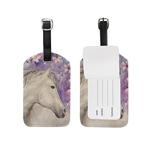 MyDaily Gepäckanhänger mit Pferde- und Blumen-Motiv, PU-Leder, Tasche, Koffer, Gepäcketikett, 2 Stück