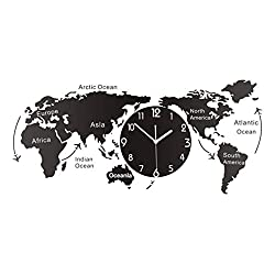 LIOOBO World Map Wall Clock Decorative Hanging Clock Modern Wall Art Decoration for Home Office Cafe Hotel Size M (Without Batteries)