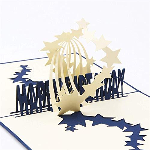Starry Sky Pop Up Card,Handmade 3D Greeting Pop Up Card for Mother's Day,Father's Day,Wedding,Graduation Cards